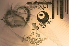 Retro ontwerpen en harten Stock Foto