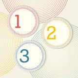 Retro opcje z kropkowanymi okręgami - jeden, dwa, trzy Obrazy Royalty Free