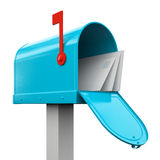 Retro  open blue mailbox Royalty Free Stock Photography