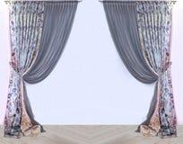 Retro open drapes. Retro open textile decorative drapes on white wall background stock photo
