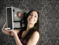 Retro open reel tape recorder brunette Dj Royalty Free Stock Image