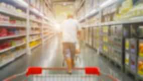 Retro opslag bij supermarkt uit nadruk voor achtergrond stock foto
