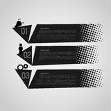 Retro option banners. Black retro option banners with halftone effect Stock Photos