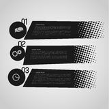 Retro option banners. Black retro option banners with halftone effect Stock Image