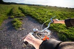 Retro orange bicycle Stock Photo