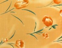 Retro Orange Floral Pattern Fabric Background Stock Image