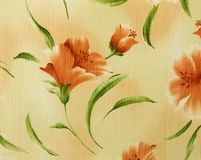 Retro Orange Floral Pattern Fabric Background Stock Images