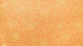Retro orange guld- stil för tappning för Rose Lace Floral Seamless Pattern tygbakgrund Arkivbild