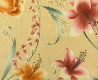 Retro Orange Pink Floral Pattern Fabric Background Royalty Free Stock Photos