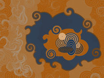 Retro Orange Swirl Cloud Wallpaper Stock Photo