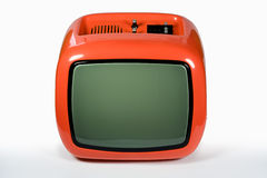 Retro orange TV. Front of an old orange television stock image