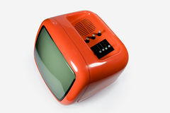 Retro orange TV. Top of an old orange television stock images