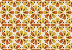 Retro orange and yellow color 60s flower motif. Geometric floral. Seamless pattern. vector illustration Royalty Free Illustration