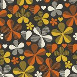 Retro orange and yellow color 60s flower motif. Geometric floral seamless pattern. vector illustration Royalty Free Illustration