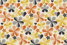 Retro orange and yellow color 60s flower motif. Geometric floral seamless pattern.  vector illustration Stock Image