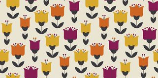 Retro orange and yellow color 60s flower motif. Geometric floral seamless pattern. vector illustration Stock Illustration