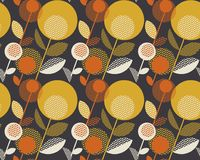 Retro orange and yellow color 60s flower motif. Geometric floral seamless pattern.  vector illustration Stock Photo