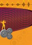 Retro Oranje Affiche Stock Foto's