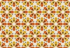 Retro oranje en geel de bloemmotief van kleurenjaren '60 Geometrische bloemen Royalty-vrije Stock Fotografie