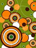 Retro oranje groene pop cirkels Royalty-vrije Stock Afbeeldingen