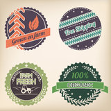 Retro organic badge set Stock Image