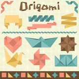 Retro origami set with design elements Royalty Free Stock Images