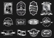 Retro original silver emblems labels collection Royalty Free Stock Photo