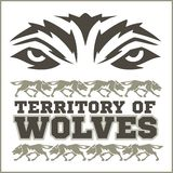 Retro ornament - running wolves and inscriptions royalty free illustration