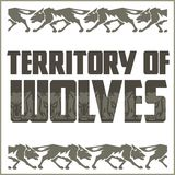 Retro ornament - running wolves and inscriptions Royalty Free Stock Photography