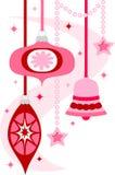 Retro Ornamenten van Kerstmis Stock Foto