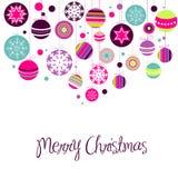 Retro Ornamenten van Kerstmis stock illustratie