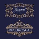 Retro ornamento della foglia Elementi di progettazione del monogramma, modello grazioso Linea elegante calligrafica progettazione royalty illustrazione gratis