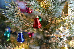 Retro ornaments on christmas tree Stock Image