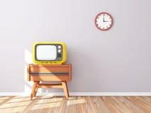 Retro orologio di parete della TV Fotografie Stock Libere da Diritti