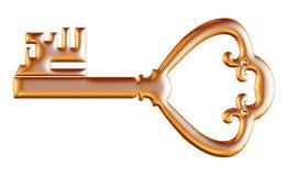 Retro oude die sleutel op witte achtergrond wordt geïsoleerd Royalty-vrije Stock Afbeelding