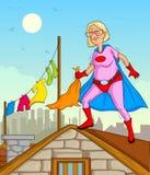 Retro oude vrouw van Superhero van de stijlstrippagina Stock Fotografie