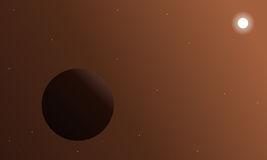 Retro outer space background with a planet Stock Images