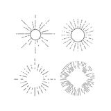 Retro outline starburst. Vintage radial design elements. Vector illustration Stock Image
