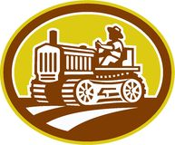 Retro oval de Drive Vintage Tractor del granjero stock de ilustración
