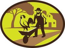 Retro oval de Rooster Wheelbarrow Farm del granjero de Amish Ilustración del Vector