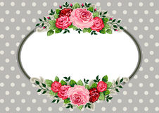 Retro oval roses vintage. Retro roses oval frame and ornaments with space for your text or design on polka dot grey background Stock Photo