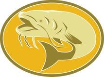 Retro ovale del pesce del pesce gatto Fotografia Stock