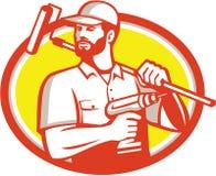 Retro ovale di Cordless Drill Paintroller del tuttofare illustrazione di stock