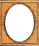Retro ovalt guld- inramar arkivbild