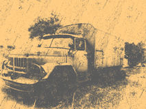 Retro overfiltered russian old military car Stock Photography