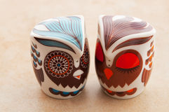 Retro owl design salt and pepper pots. Stock Images