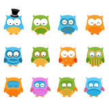 Retro Owl Set Royalty Free Stock Photo