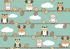 Retro Owls Seamless Vector Pattern. Retro colored, seamless, vector pattern featuring cute owls on branches. Repeating pattern of owl characters on a sky royalty free illustration