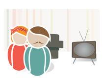 Retro Paar op een Algemene Vergadering. Universele Webpictogrammen van een Familie Stock Afbeelding