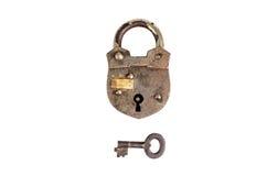 Retro padlock and key isolated on white Royalty Free Stock Photo